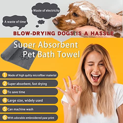 Sinland ultra saugfähiges Mikrofaser Hunde Handtuch 75 x 127 cm Grau - 8